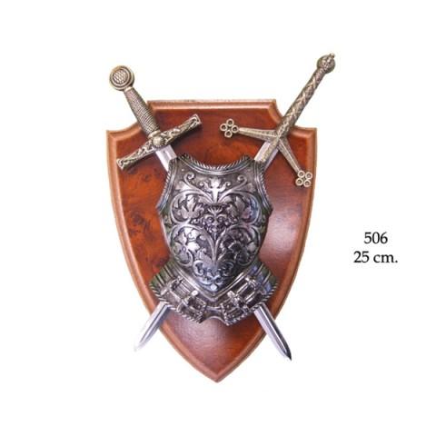 Панно с кирасой и 2 меча (25см)